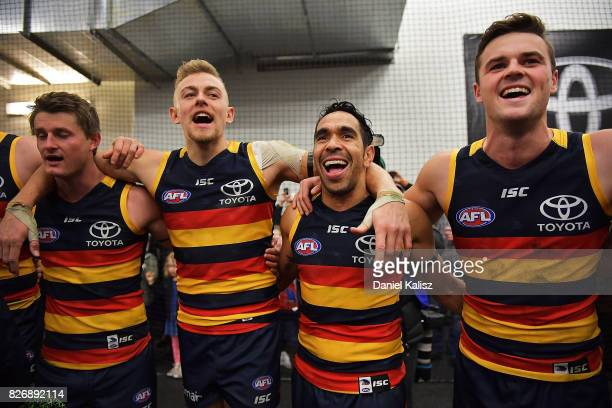 Crows players sing the club song after the round 20 AFL match between the Adelaide Crows and the Port Adelaide Power at Adelaide Oval on August 6...