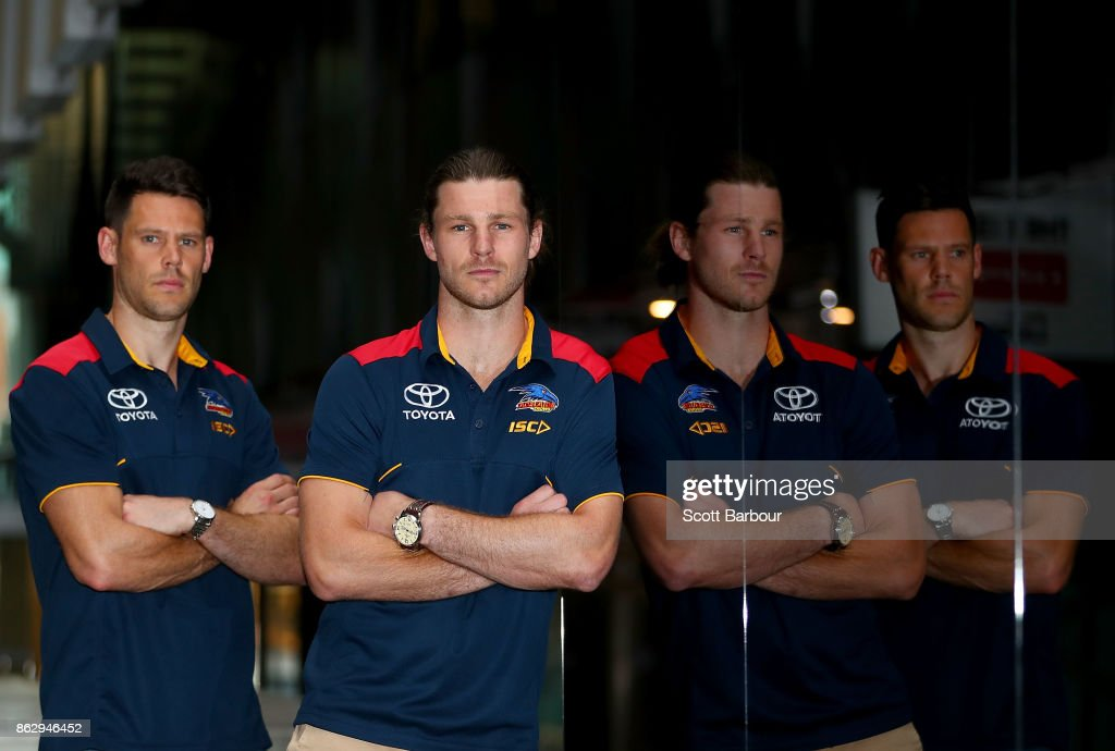 Crows recruits Bryce Gibbs and Sam Gibson pose following the AFL Draft Period at Etihad Stadium on October 19, 2017 in Melbourne, Australia.