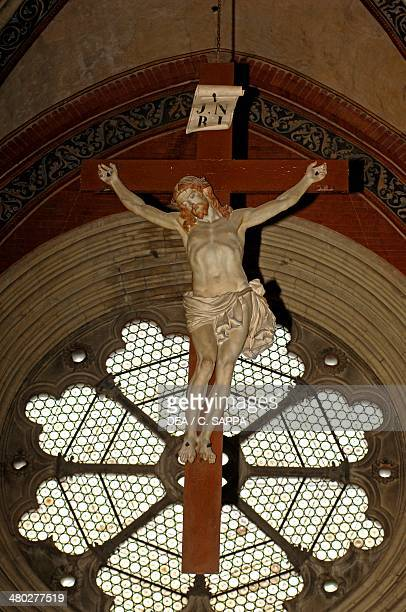 Crucifiction and rose window Basilica of Sant'Andrea Vercelli Piedmont Italy