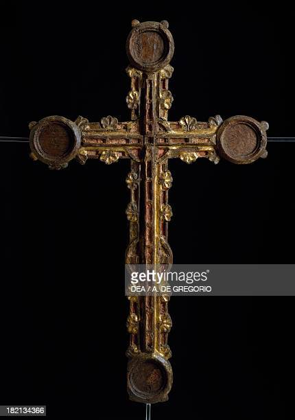 Crucifix temperapainted wood reliquary from Guardiagrele Italy 14th century Detail from the rear side L'Aquila Museo Nazionale D'Abruzzo