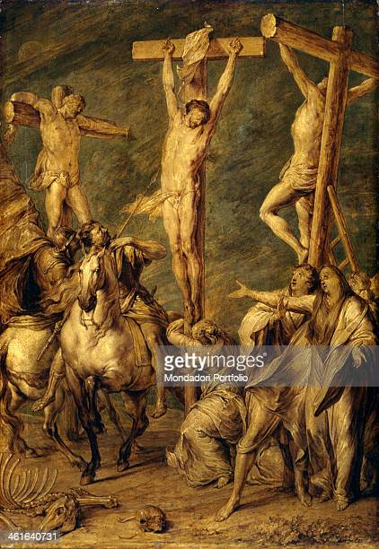 Crucifixion by Jan Anthonie de Coxie 1710 1720 18th Century oil on board 62 x 45 cm Italy Lombardy Milan Castello Sforzesco Civic Collections of...