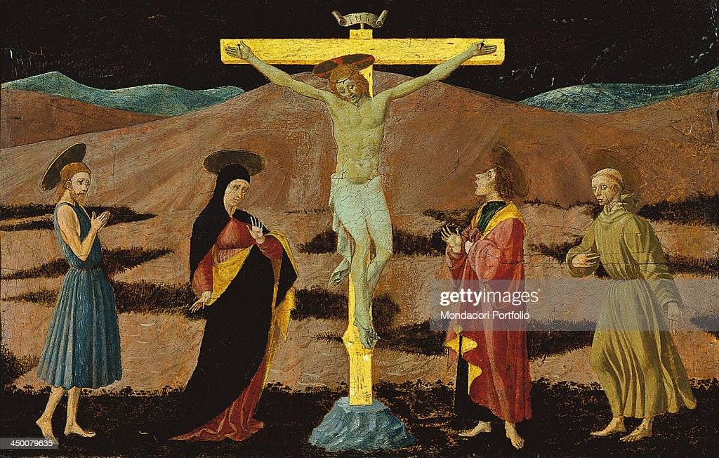 Crucifixion (Crocifissione), by Paolo di Dono known as <a gi-track='captionPersonalityLinkClicked' href=/galleries/search?phrase=Paolo+Uccello&family=editorial&specificpeople=99053 ng-click='$event.stopPropagation()'>Paolo Uccello</a>, 1460, 15th Century, board, 46 x 67 cm.