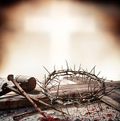 Wooden Cross With Hammer Bloody Nails And Crown Of Thorns