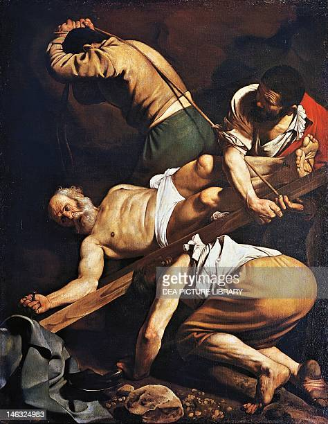 Crucifixion of St Peter 16001601 by Michelangelo Merisi da Caravaggio oil on canvas 230x175 cm Santa Maria del Popolo Cerasi Chapel Rome
