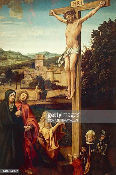 Crucifixion showing Mary Magdalene and donors 15111514 by Hans von Kulmbach oil on panel 167x92 cm Florence Galleria Degli Uffizi