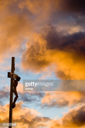 Crucifixion with gold clouds and Christ on the cross