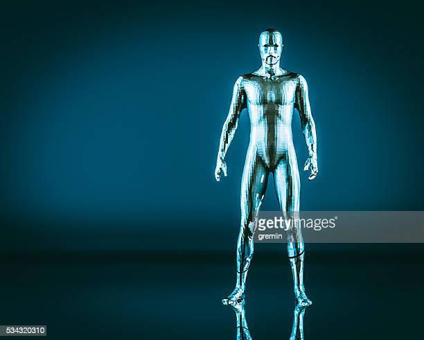 Crude humanoid shape, cyborg, futuristic