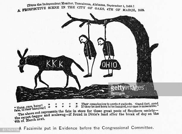 Crude illustration from the Independent and monitor Tuscaloosa September 1 1866 A prospective scene in the City of Oaks 4th of March 1869 'Hang Curs...