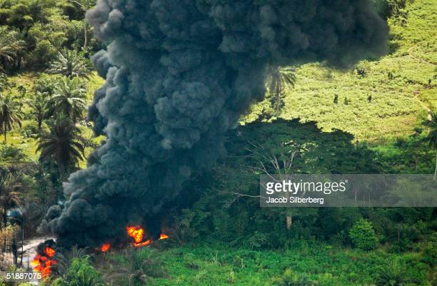 Crude oil from a spill burns October 12 2004 in Goi Nigeria Shell claims the spill is from a sabotaged pipeline The Niger Delta where the bulk of...