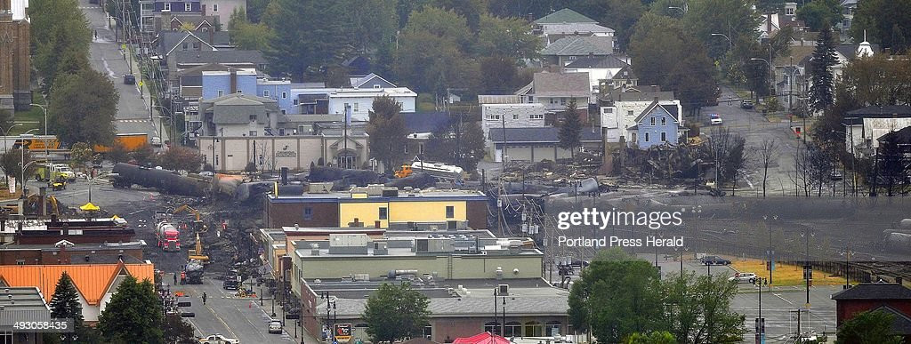 Crude oil tankers from the Montreal Maine Atlantic railways are seen in the heart of downtown LacMegantic Quebec where the runaway train exploded...