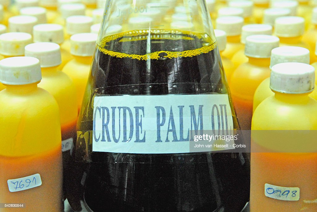 Crude palm oil to be used for biodiesel before it is sent to the refinery in the outskirts of Bangkok The bottle labels correspond to the delivery...