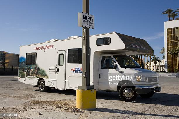 A 'Cruise America' motorhome is parked illegally in an empty building lot as seen in this 2009 Las Vegas Nevada winter afternoon photo