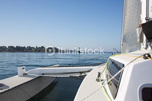 Cruise On A Trimaran Sailboat Stock Photo   Thinkstock