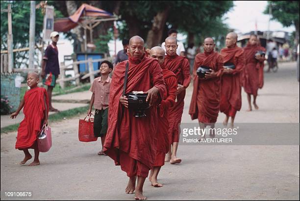 Cruise On The Irrawady River On January 8Th Myanmar Near The Chinese Border These Monks Of Bhamo Come To The Quays To Receive Meals As Offerings