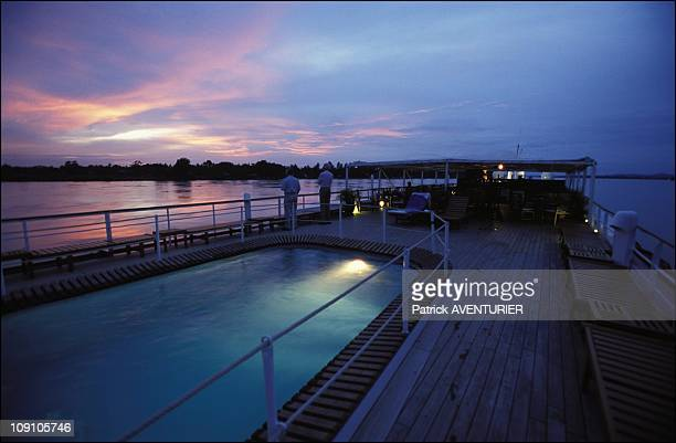 Cruise On The Irrawady River On January 8Th Myanmar The Swimming Pool Of The 'Road To Mandalay' At Dusk Near Bhamo