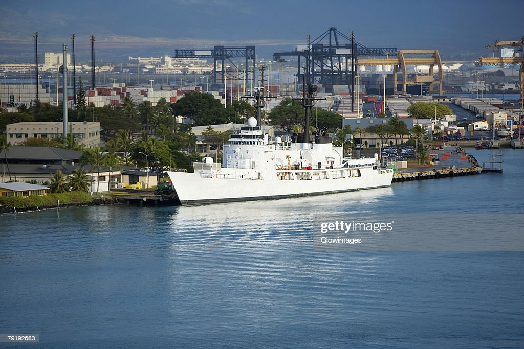Cruise ship at a dock : Stock Photo
