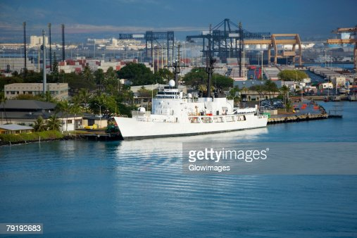 Cruise ship at a dock : Stock Photo