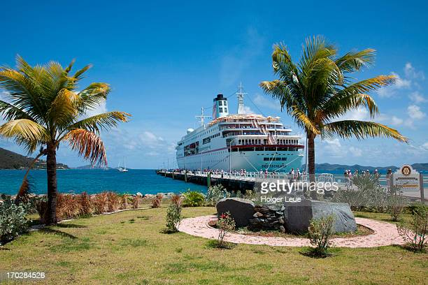 Cruise ship at pier with palms