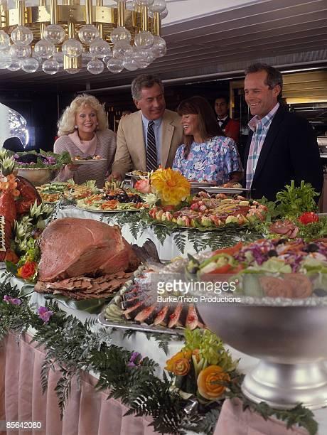 Cruise ship buffet with passengers