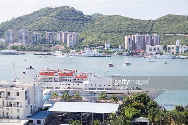 Cruise ship docked in Sanya, Hainan Island, China