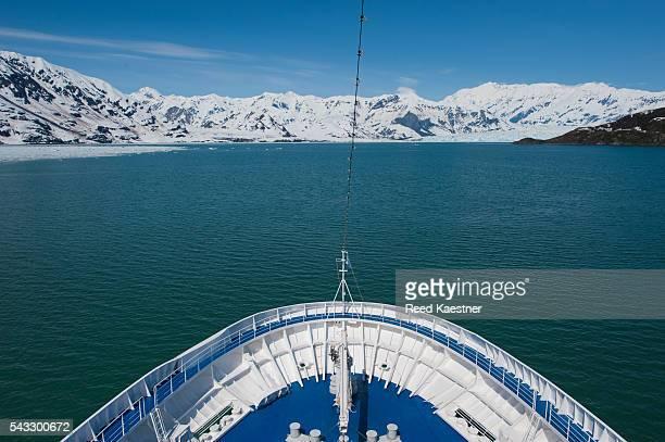 A cruise ship heads toward the Hubbard Glacier in Alaska
