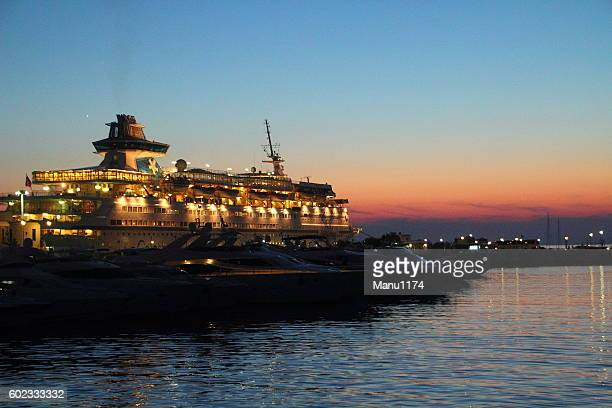 cruise ship in the evening light
