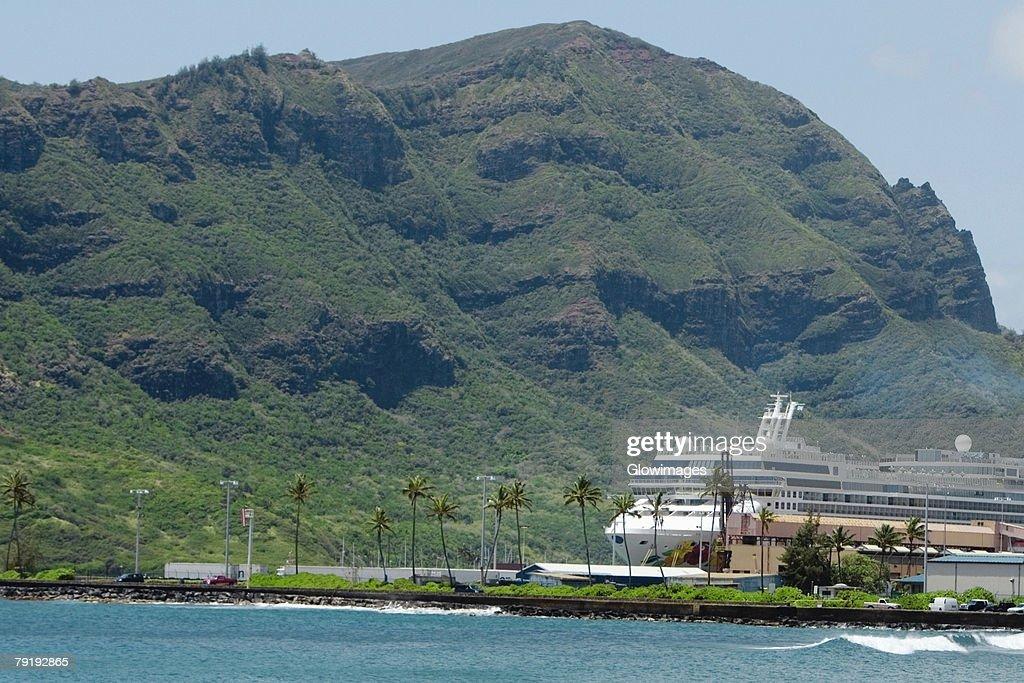 Cruise ship in the sea, Nawiliwili Beach Park, Kauai, Hawaii Islands, USA : Stock Photo