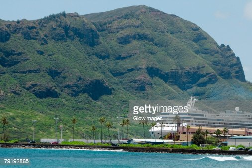 Cruise ship in the sea, Nawiliwili Beach Park, Kauai, Hawaii Islands, USA : Foto de stock