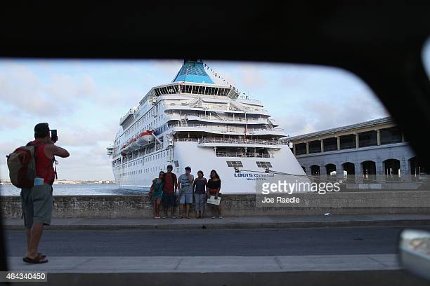 A cruise ship is seen in Port of Havana on February 23 2015 in Havana Cuba The recent thaw in USCuba relations has increased the number of American...