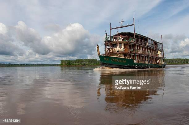 Cruise ship La Esmeralda on the Maranon River in the Peruvian Amazon River basin near Iquitos