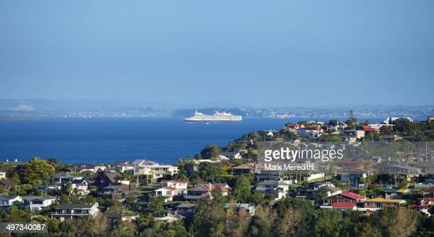 Cruise ship leaving Auckland sailing past the North Shore