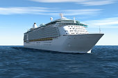 Cruise Ship, on Blue Sky with Clouds (XXXL)