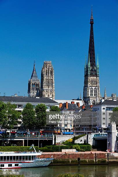 Cruise ship quay, river Seine and cathedral, Rouen