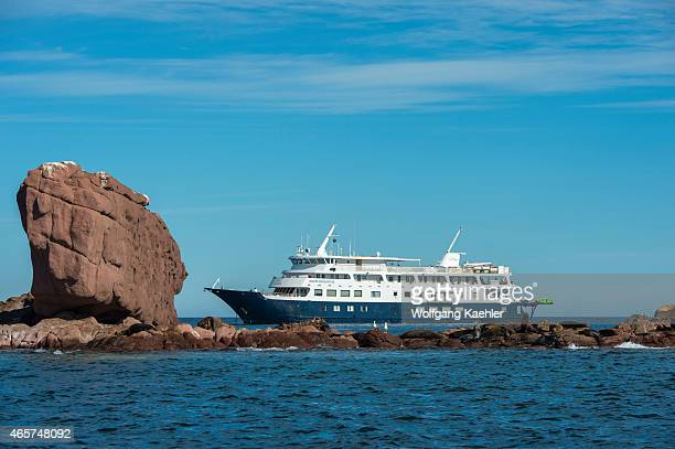Cruise ship Safari Endeavour with California sea lion on the rocks of the Los Islotes Islands in Baja California Mexico the most southern breeding...