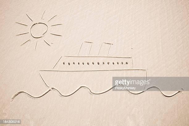 Navire de croisière voiles sur une mer de soleil dessin