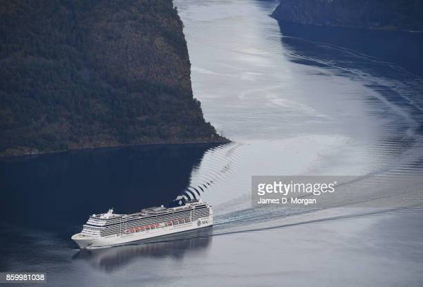 Cruise ship seen sailing through Norwegian Fjord on February 8th 2017 in Norway