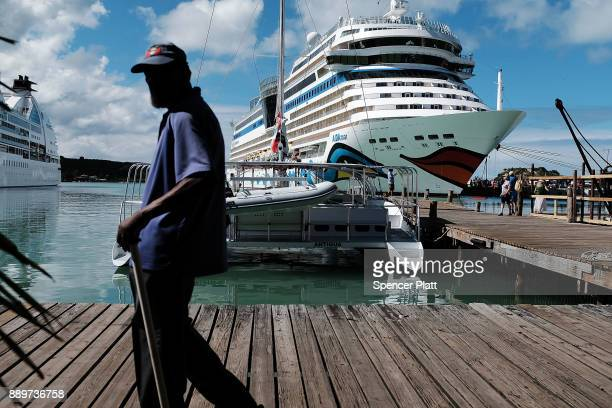 A cruise ship sits in the harbor on December 10 2017 in St John's Antiqua While it's sister island Barbuda was nearly destroyed in Hurricane Irma...