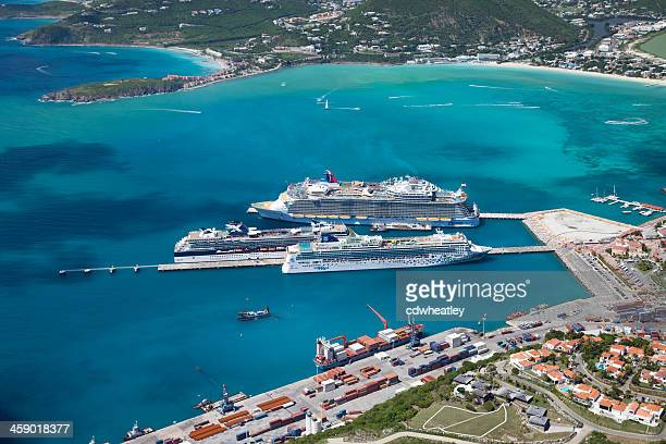 cruise ships at the dock in Philipsburg, St. Maarten