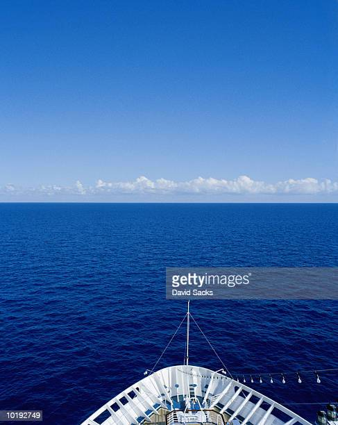 Cruise ship's bow and open sea, elevated view, Caribbean