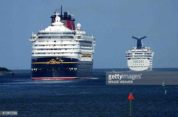 Cruise ships Disney's Wonder and Carnival's Fantasy head for sea 02 September from Port Canaveral Florida ahead of approaching catagory 4 Hurricane...