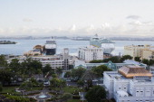 Cruise ships dock in Old San Juan the center for Puerto Rican tourism on November 12 2013 in San Juan Puerto Rico The island territory of the United...