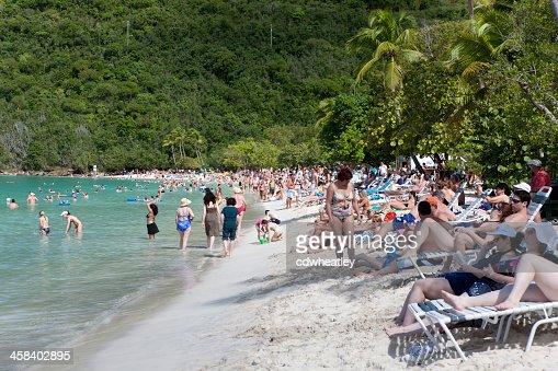 cruise ships passengers sunbathing on Magens Bay, Saint Thomas, USVI