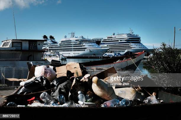 Cruise ships sit in the harbor on December 10 2017 in St John's Antiqua While it's sister island Barbuda was nearly destroyed in Hurricane Irma...