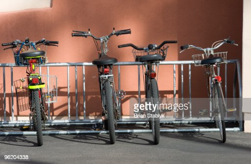 Cruiser Bicycles in Bike Rack : Stock Photo