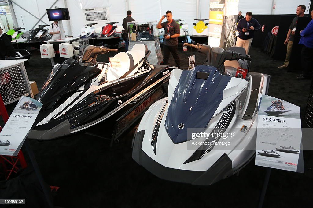 VX Cruiser HO (L) and VX Cruiser (R) at the Miami International Boat Show on February 11, 2016 in Miami, Florida.