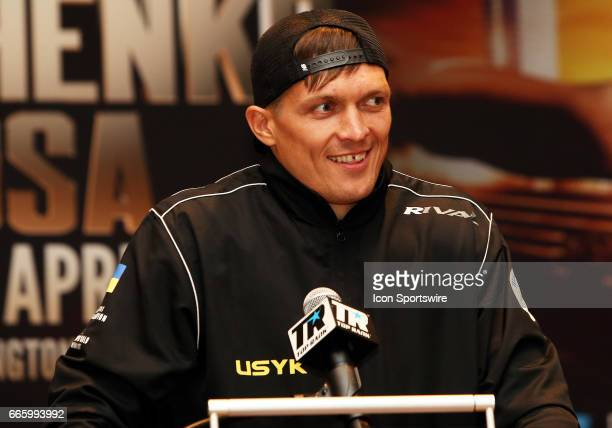 Cruiserweight boxer Aleksandr Usyk speaks during a Top Rank Championship Boxing Press Conference on April 06 at MGM National Harbor in Oxon Hill MD