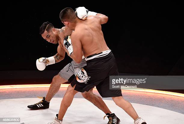 Cruiserweight boxer Javier Garcia fights Jonathan Chicas during BKB 2 Big Knockout Boxing at the Mandalay Bay Events Center on April 4 2015 in Las...