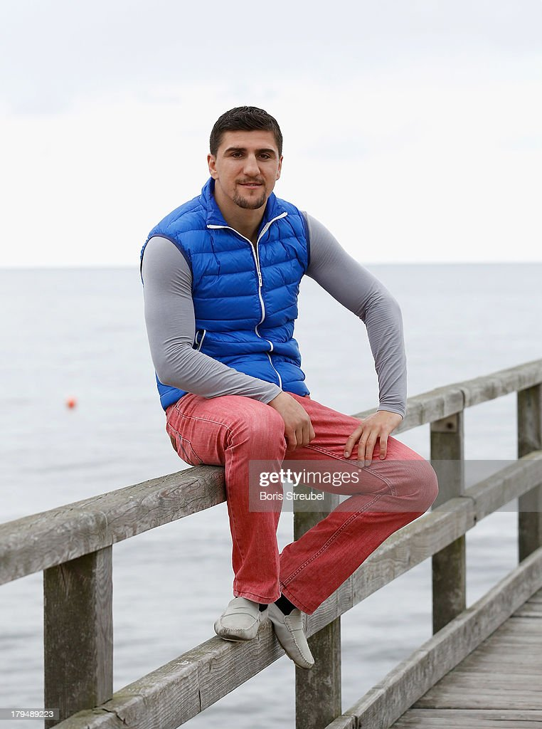 Cruiserweight champion <a gi-track='captionPersonalityLinkClicked' href=/galleries/search?phrase=Marco+Huck&family=editorial&specificpeople=2264905 ng-click='$event.stopPropagation()'>Marco Huck</a> of Germany pose on the beach of Usedom on September 4, 2013 in Zinnowitz, Germany.