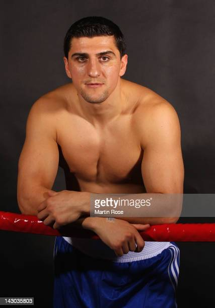Cruiserweight fighter Marco Huck of Germany poses during a portrait session on April 17 2012 in Berlin Germany The WBO World Championship...