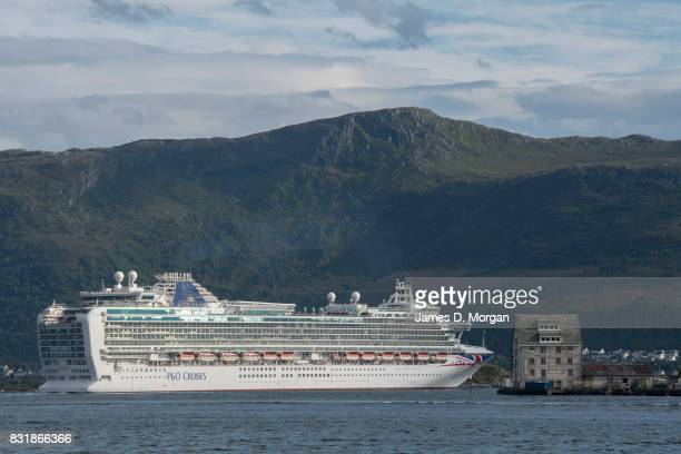 Cruises ship Azura departs port on her seven day cruise from Southampton on August 15 2017 in Alesund Norway With over 3000 guests and 1200 crew the...